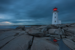 Peggy's Cove, Nova Scotia (B.E.K.) Tags: peggyscove longexposure lighthouse sunset bluehour reflection water rock sky clouds ocean red light outdoor landscape nikond800 nikon1735f28 canada canada150 novascotia