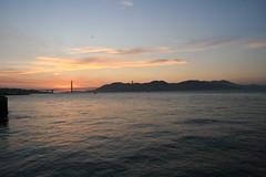 Golden Gate (emotiroi auranaut) Tags: sky bay water bridge goldengatebridge seagull bird boat sailboat clouds cloudy sun sunset nature bayarea california sanfrancisco