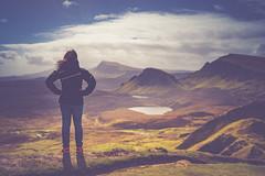 Freedom (der_peste) Tags: scotland isleofskye quiraing trotternishridge landscape woman women person clouds moutains lake nature breathtaking mood