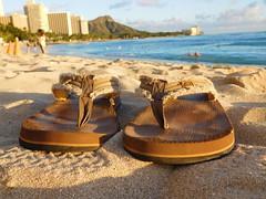 beach sandals (kenjet) Tags: oahu hawaii tropical island vacation waikiki waikikibeach pair sandal sandals beach ocean diamondhead pacific pacificocean