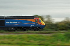 High Speed (gooey_lewy) Tags: class 43 high speed train motion blur east midlands trains british railways rail diesel driver need for bedford midland mainline mml green 43075
