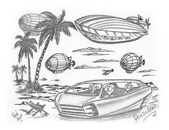 Pondcherry (rod1691) Tags: bw scifi grey concept custom car retro space hotrod drawing pencil h2 hb original story fantasy funny tale automotive art illistration greyscale moonpies sketch