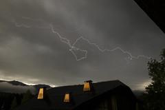 Calligraphy (Lolo_) Tags: thunderstorm lightning megève hautesavoie orage éclair foudre demiquartier combloux storm chalet cheminées roof toit zébrure impact