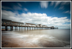 S  O  U  T  H  W  O  L  D (Kevin HARWIN) Tags: sea water beach sand stones rocks pier people buildings cloud sky blue white canon eos 1020mm sigma lens england britain uk south suffolk north