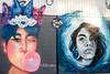 Friendly Fire - KIMIEFLORES vs MIEEDING (-Dons) Tags: austin texas unitedstates muralart streetart tx usa mural bubblegum cat friendlyfire kimieflores mieeding portrait face woman
