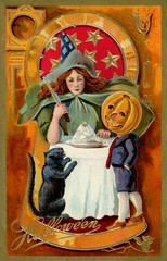 Pumpkinhead Boy with Witch and Black Cat (Alan Mays) Tags: ephemera postcards greetingcards greetings cards paper printed halloween holidays october31 jackolanterns pumpkins witches women witchhats hats clothes clothing cats blackcats animals children boys pumpkinheads pumpkinheadboys tables knives surreal puzzling stars goldstars borders illustrations orange gold red blue 1908 1900s antique old vintage typefaces type typography fonts strange unusual