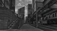 Fulton River District (Jovan Jimenez) Tags: monochrome architecture train tracks rail bridge way pano auto autopanopro giga pixel black white gray vivitar series 1 one hdr kolor panorama 3585mm sony ilce 6500 a6500 alpha street chicago downtown metabones speedbooster focal reducer mirrorless