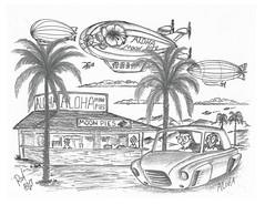 Aloha (rod1691) Tags: bw scifi grey concept custom car retro space hotrod drawing pencil h2 hb original story fantasy funny tale automotive art illistration greyscale moonpies sketch