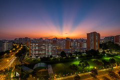 Sunrays at Hougang [Explored] (BP Chua) Tags: sunset sunray rays hougang singapore asia fujifilm xt1 wideangle landscape epic lights orange buildings hdb residential