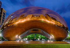 "I've ""bean"" to Chicago (Part 4 of 4) (tquist24) Tags: attplaza chicago cloudgate hdr illinois millenniumpark nikon nikond5300 thebean architecture bluehour buildings city clouds geotagged lights longexposure morning park reflection reflections sculpture sky skyscrapers unitedstates"