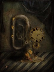 Return of MadHatter Tuba Clock (jimlaskowicz) Tags: victorian aged grunge dust brass stars stripes works gears beetle artistic curtain display textures jimlaskowicz painterly impressionistic dream steampunk dark surreal antique vintage clock tuba
