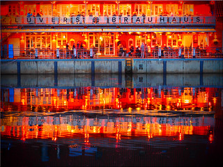 Colourful reflections in the water of  the Harbor