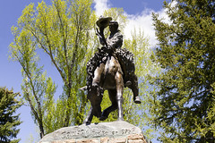Cowboy Monument Jackson Wyoming (rschnaible) Tags: jackson wyoming town street photography west western sightseeing walking monument statue art