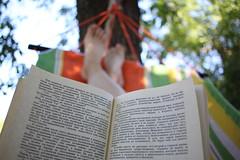 Summer day at home (heliosister) Tags: book hammock summer efs24mmf28stm canon home reading ильфипетров золотойтеленок корейко александривановичкорейко goldencalf ilfandpetrov sun enjoythesun summerday lazyday bokeh buch libro sol sonne книга гамак hamaca canoneos500d