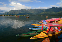 Landscape of Dal Lake in Srinagar, India (phuong.sg@gmail.com) Tags: asia beautiful blue boat curtain dal destination float house india indian indianpeople jammu kashmir lake lakehouse landscape mountain mountainlake natural nature outdoor people recreation reflection row rowofhouses rowing shikara sky srinagar summer tourism traditional transport transportation travel village water yellow