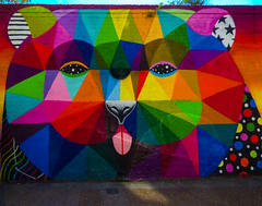 Panting Tongue Bear (Steve Taylor (Photography)) Tags: bear diamond polkadots mystic art abstract graffiti mural painting streetart colourful vivid weird strange odd crazy uk gb england greatbritain unitedkingdom london shape curve triangle shoreditch panting tongue
