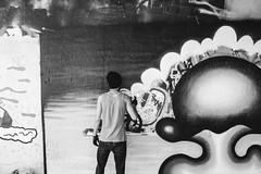 Leak street (garethottywill) Tags: fujifilmxt2 fujinon23mmf2 tunnel leakstreet urban blackandwhite textures artwork art spraying tagging