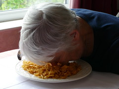 Face down (amy's antics) Tags: wah wearehere facedown cornflakes plate spoon table
