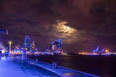 Moonlight Serenade (PhotoChampions) Tags: moon moonlight citylights city urban blueport blauerhafen hamburg deutschland germany elbe wolken clouds cityscape nightshot night longexposure blue blau langzeit stadt river fluss wasser water elbphilharmonie elbphi cruisedays