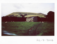 Thursday 24th August (ronet) Tags: fuji fujiinstax200wide thursdaywalk barn edale field instant instax instax200wide pasture peakdistrict scanned sheep utata