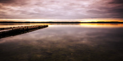 Daybreak (Jens Haggren) Tags: sunrise morning daybreak sky clouds sea seascape water jetty bridge reflections landscape view silhouette nature le longexposure nacka sweden jenshaggren