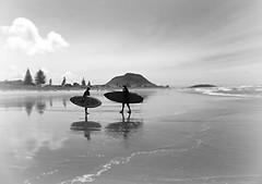 Say You'll Meet Me Down on the Beach Tonight... (Mary Faith.) Tags: ipiccy bestofblinkwinners blinkagain blinksuperstars mygearandme beach mtmaunganui tauranga bw water waves ocean surf board reflections leisure body nz