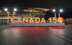 Canada 150 (Clayton Perry Photoworks) Tags: vancouver bc canada summer night lights explorebc explorecanada sign canada150 canadaplace