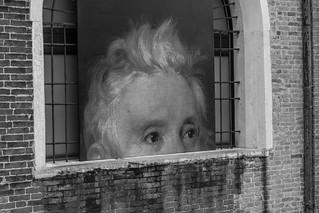 Hiding man in Venice