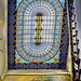 Staircase with stained glass ceiling/roof