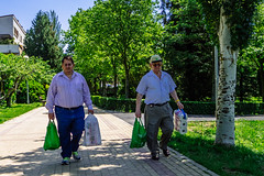 Bolsas Verdes (Walimai.photo) Tags: candid robado street calle salamanca jesuitas parque park verde green color colour lumix lx5 panasonic españa spain dos two 2 couple pareja men hombres