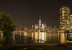 Downtown (• estatik •) Tags: manhattan nyc big apple skyline jersey city york new hudson river reflection long exposure panorama newport