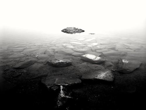 Morning mist over lake