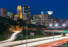 Minneapolis Freeway Cruise (lpvisuals.com) Tags: red blue city downtown cityscape minneapolis minnesota usa 2017 bold north super bowl superbowl lii 52 night long exposure skyline dusk capella tower us bank stadium ids wells fargo east town target center field united northeast after sunset architecture hour buildings cloud clouds dark digital dynamic hdr high range resolution illuminated lights low light time outdoor panorama sky skyscraper sony alpha a7 trees urban landscape water waterfront