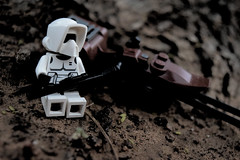 Break (read desc.) (RagingPhotography) Tags: lego star wars scout trooper speeder bike imperial galactic empire stormtrooper minifigure minifig figure plastic toy outdoor outside dirt nature gritty dark ragingphotography