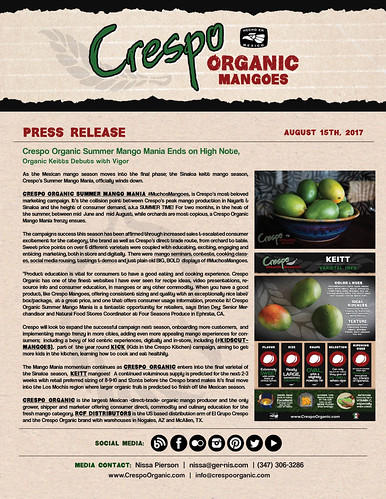 "August 15th -  Crespo Organic Mango Mania Ends on High Note - Press Release • <a style=""font-size:0.8em;"" href=""http://www.flickr.com/photos/139081453@N03/35751861674/"" target=""_blank"">View on Flickr</a>"