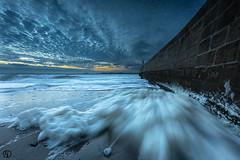 The foam... (Grégory Dolivet) Tags: sunset foam pier lighthouse sky cloud beach sand water sea seascape ocean
