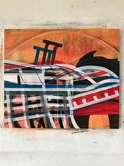 Jim Harris: Energy Wave Transfer Station - New Arctic Region. (Jim Harris: Artist.) Tags: lartabstrait peinture konst kunst painting abstractart abstrakt malerei landskap landscape architecture interior geometric geometrický