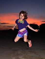 Jumping for joy at the beach #2 (mf.flaherty) Tags: d7100 nikon grandchild granddaughter sunset strobe strobist beach summer