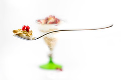 Healthy breakfast, happy day!! (Photography by Julia Martin) Tags: photographybyjuliamartin healthybreakfasthappyday foodphotography highkey granola naturalfatfreeyoghurt pomegranateseeds levitationphotography levitation eatwell healthy selectivefocus creative creativeprocessing magic floating floatingspoon