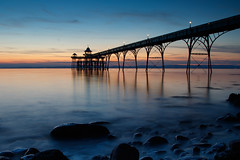 Into the Channel (*Hairbear) Tags: longexposure summer bristolchannel sunset clevedon pier water sea sky blue rocks slow somerset smooth