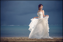 MagicIslandStorm (crosscolin) Tags: bride hawaii oahu magic island honolulu beach storm clouds backlight strobist godox nikon d750 shortlit dress grid blue white