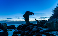 Seaside Rock Formations at Daybreak (Merrillie) Tags: horizon hargravesbeach sand nature dawn beauty background newsouthwales sea noraville nsw beach ocean coastal outdoors cabbagetreeharbour view dream landscape blue australia silhouettes waterscape clouds vacation holiday sunrise waves rockformations water scene coastline bay beautiful travel rocky scenic shore norahhead seascape centralcoast coast sky rocks