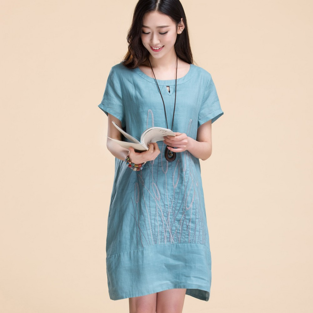 A long loose cotton dress size 2017 new summer straight folk style dress skirt female ramie