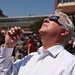 Chancellor Randy Woodson watched the eclipse as it neared its peak.