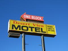 One block (jimsawthat) Tags: arrow motel vintagemotel yuccavalley california rust desert plasticsign