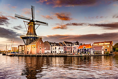 De Adriaan Windmill, Haarlem, Netherlands (ShanePix) Tags: long exposure cloud clouds yellow houses reflection nikond4 nikon longexposure magichour bluehour netherland amsterdam houseboat night water waterfront outdoor skyline city architecture building landscape river holland canal tower travel panorama cityscape nederland canals bridge sunset dusk sky deadriaanwindmill haarlem netherlands windmill de adriaan deadriaan