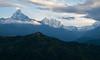 Sunrise on Macchapuchchhre (6,993m/22,943ft) and Annapurna III (7,555m/24,787ft) (ericcb) Tags: pagoda worldpeacepagodamacchapuchchhremountainshimalayashimalayanepalfujifilmfujifilm xt1sunrisesnowannapurnaannapurna iii clouds pokhara