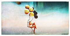 Flying over the sea (La Baroque (Laura) ️♡thnx for your visits️) Tags: balloon ladder woman girl seawaterbirdtextured sea water