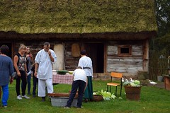 back in time (JoannaRB2009) Tags: museum skansen openairmuseum barn building architecture wood wooden thatched geese birds animals people kapustakiszona kujawskopomorskie tradition traditional polska poland summer farm