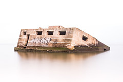 WWII Pillbox Sheppy (Nathan J Hammonds) Tags: wardenpoint isleofsheppy pillbox minimal sea long exposure graffiti sinking kent seascape nikon d750 nd 10stop architecture colour